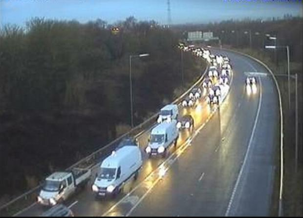 Traffic queuing on the M61 southbound this morning