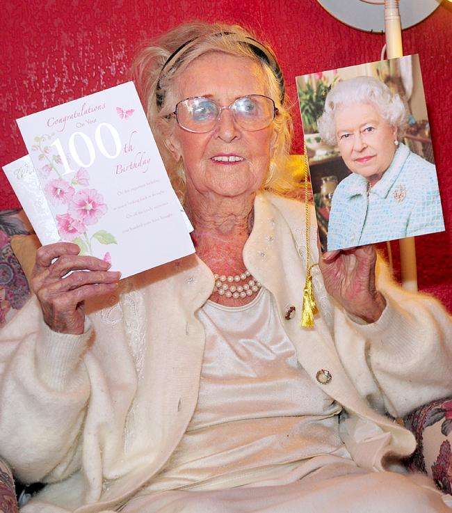 Mary Hutchinson With Her Birthday Cards Including The One From Queen
