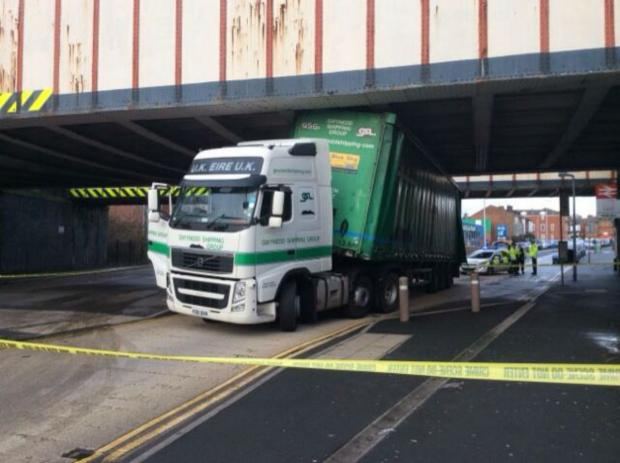 The Bolton News: Lorry stuck under Walkden Road bridge. Photo by Cllr Iain Lindley