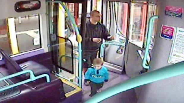The Bolton News: Daniel Rigby getting on a bus with Rio the day before the toddler was killed