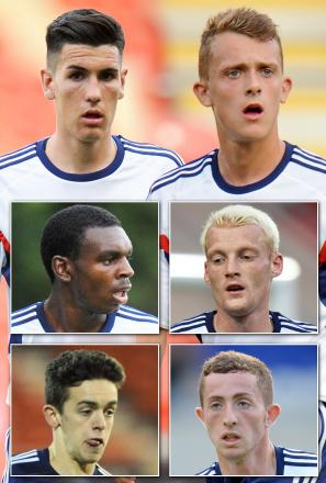 Dougie Freedman is looking to sort out loan deals for, clockwise from top left, Conor Wilkinson, Chris Lester, Cian Bolger, Tom Youngs, Zach Clough and Hayden White