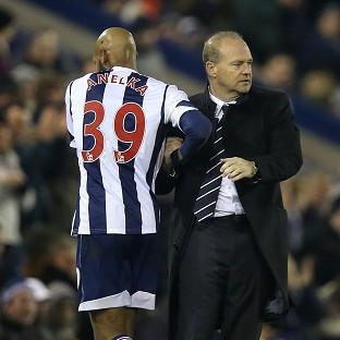 Pepe Mel shakes Nicolas Anelka's hand after substituting the striker during West Brom's draw with Everton
