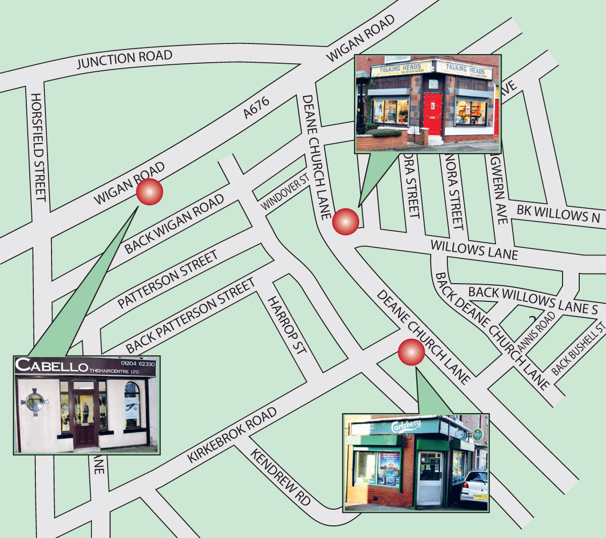The Bolton News: A map showing where the robberies happened in Deane