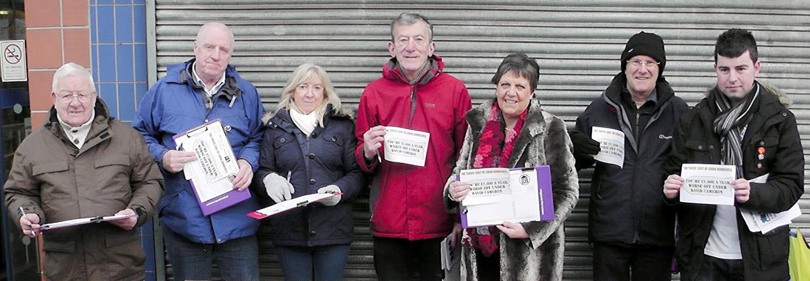 Collecting signatures for their petition are, from left, Peter Finch, Tom Robinson, Anne Graham, Cllr David Chadwick, MP Julie Hilling, John Gillatt and Matthew Farnworth
