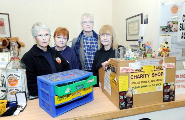 Shop volunteers  Pat Roberts, Jenny Holman, Brian Bainbridge and Sue Wood with a temporary till