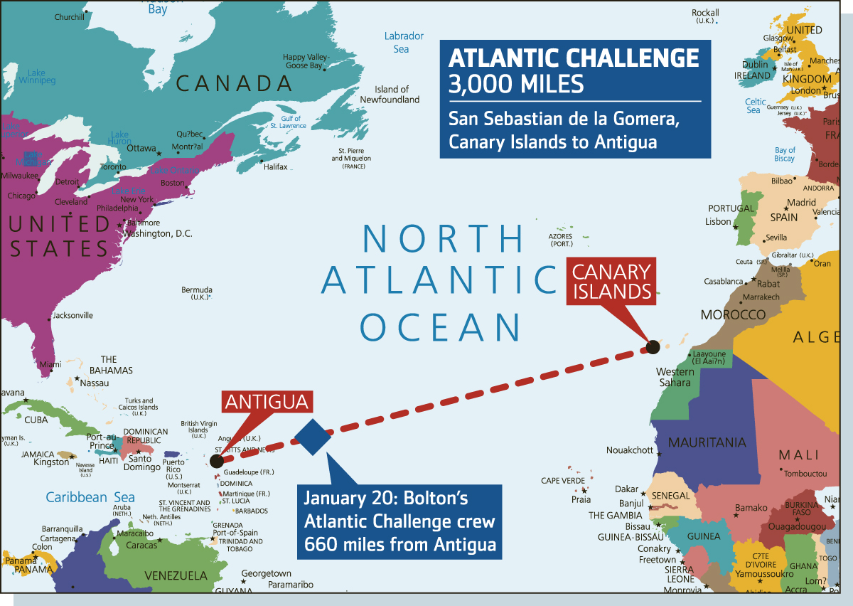 The Bolton News: A map of the Bolton Atlantic Challenge crew's progress