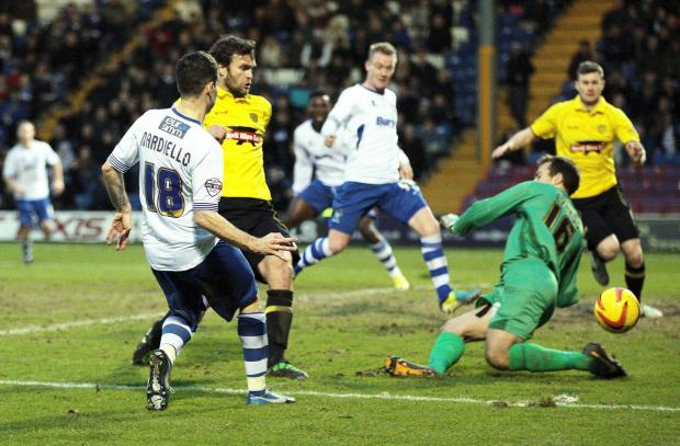 Daniel Nardiello goes close for Bury in their 0-0 draw at home to Burton Albion