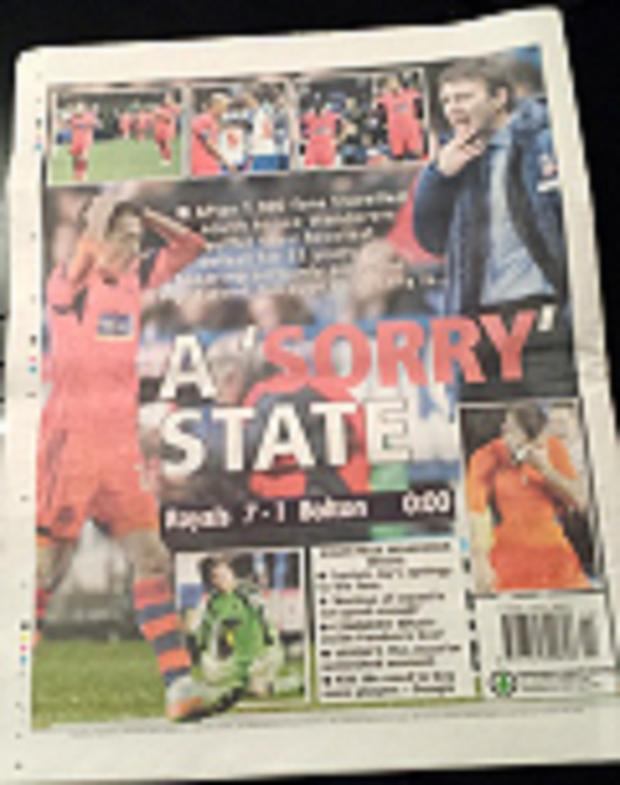 The Bolton News: The back page of The Bolton News following the Reading defeat
