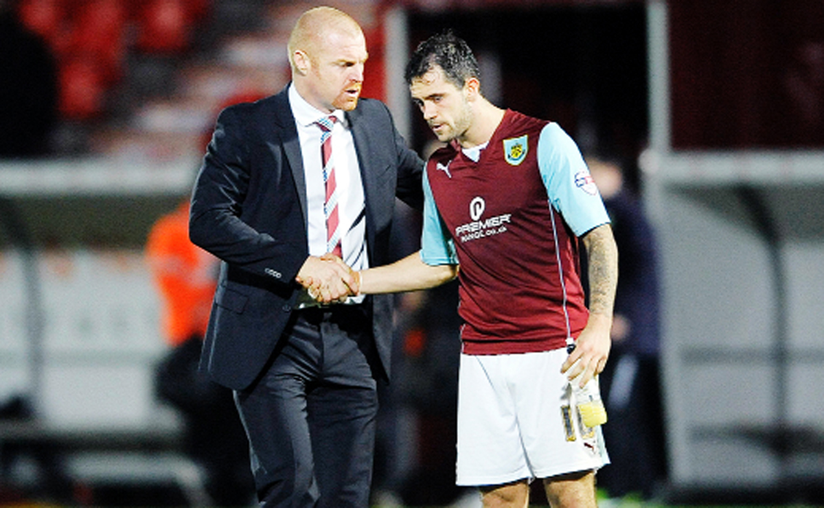 Burnley manager Sean Dyche, left, and star striker Danny Ings