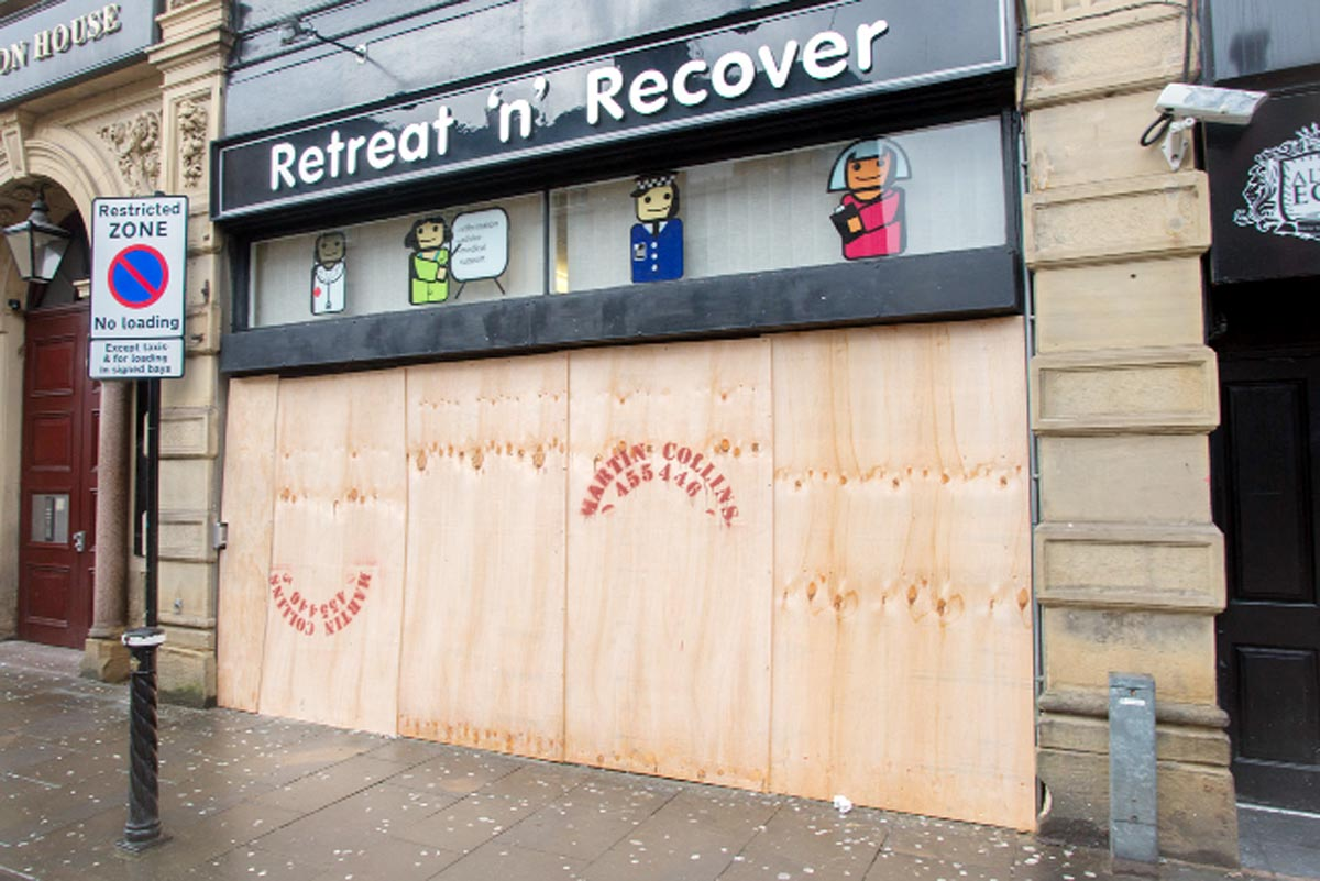 Burnley's Retreat 'n' Recover centre which was boarded up yesterday