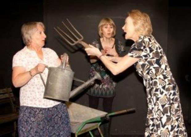 Margaret Marks, Alison Whittaker and June Grice rehearsing Entertaining Angels