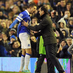 Kevin Mirallas, left, celebrates scoring the winner with Roberto Martinez