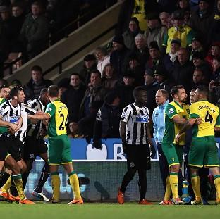 The Bolton News: Norwich and Newcastle players clashed at Carrow Road