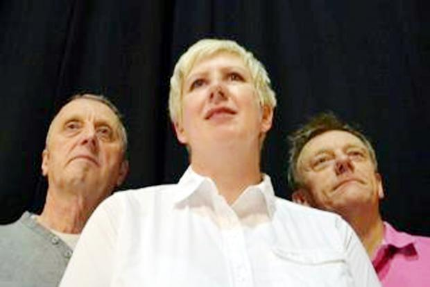 John Cunningham, Julie Cunningham and Stephen Stubbs in the play Mindgame