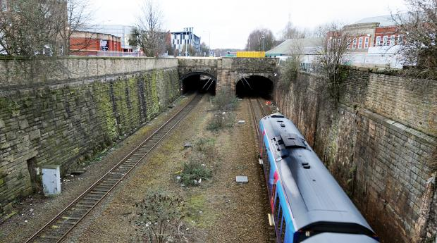 The Moor Lane tunnel where Simon Pues was hit by a train and died