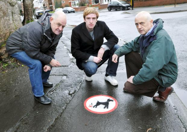 From left, Cllr Roger Hayes, Andrew Martin, who edits the Bolton Liberal Democrats' Focus newsletter, and Cllr Tony Radlett in Church Road, Smithills, which has been blighted by dog fouling