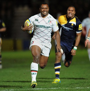 Vereniki Goneva races away to score the opening try for Leicester