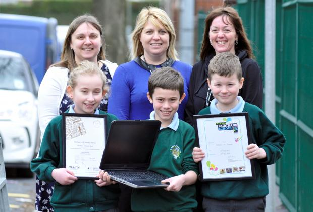 ICT subject leader Kathryn Simmons and joint arts leaders Zoe Quarmby and Natasha Smith with Ellie Fennell, aged 10, and William Quarrell and Kayden Wood, both aged nine