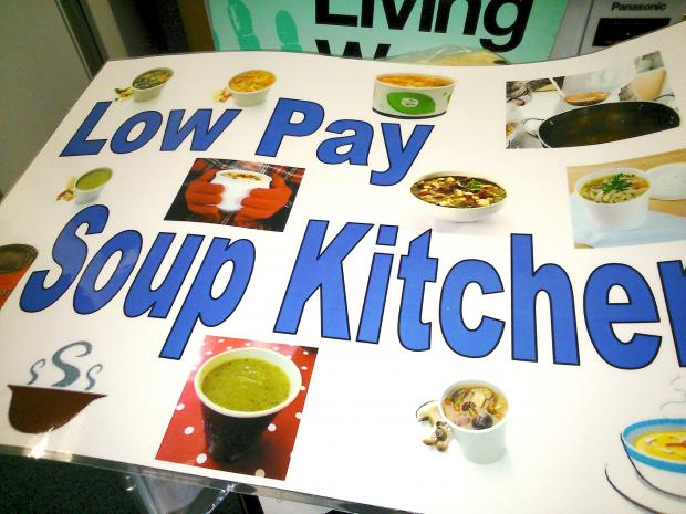 The Bolton News: Union members hold a soup kichen and give out leaflets in Victoria Square