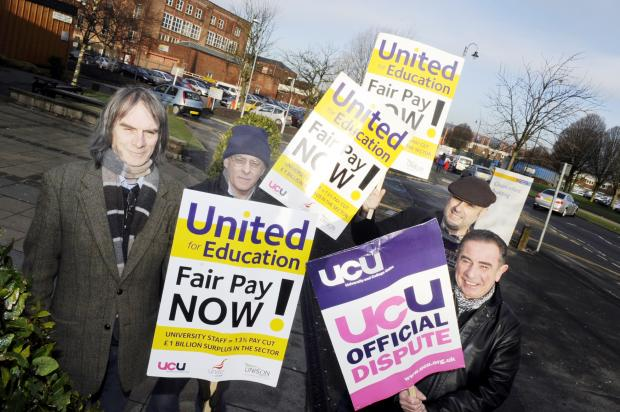 From left during the latest strike action are lecturers David Rudd, Martin Stanhope, Damian Markey and Kevin Thorpe