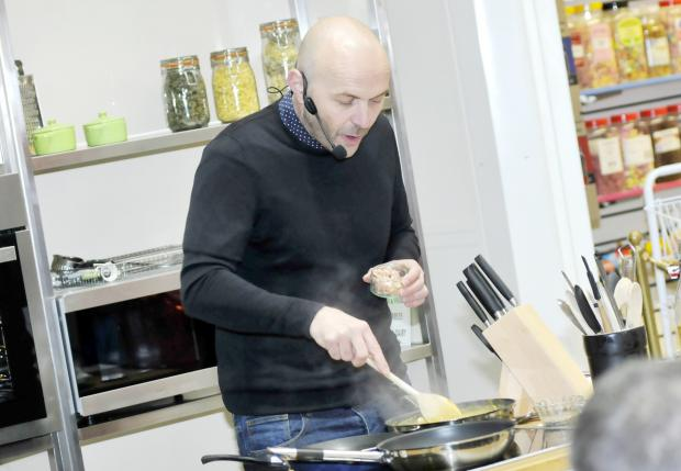Simon Rimmer cooking at the new Bolton Market