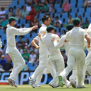 Mitchell Johnson, centre, continued his fine form against South Africa (AP)
