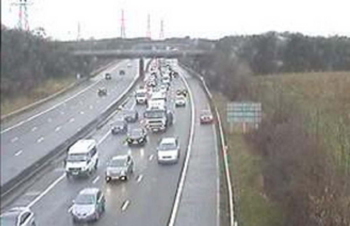 Traffic queuing on the M61 southbound between junction 4 and 3