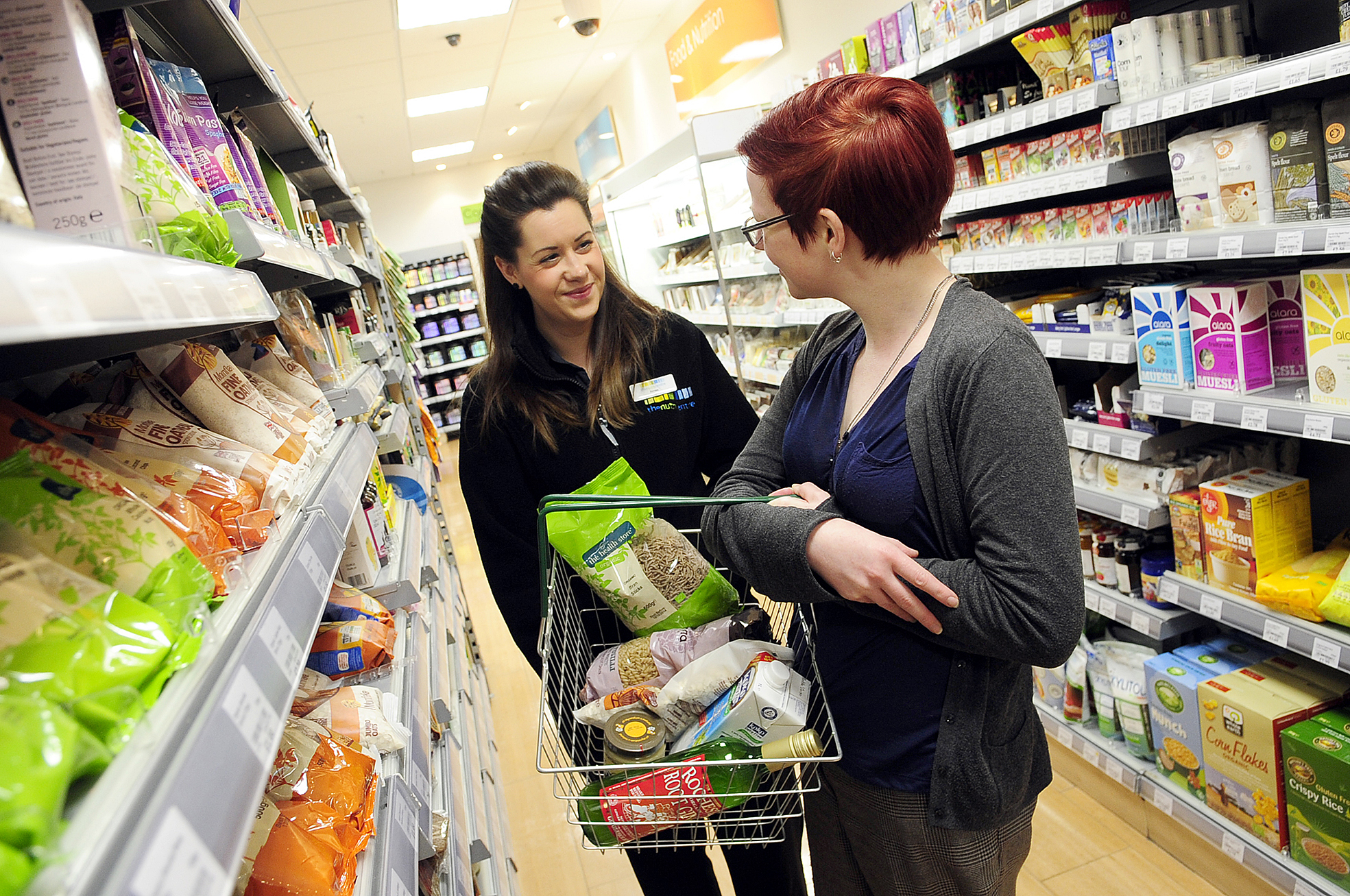 Nutritionist Aimee Wheeler, left, with Vickie Scullard at Tesco Extra in Horwich