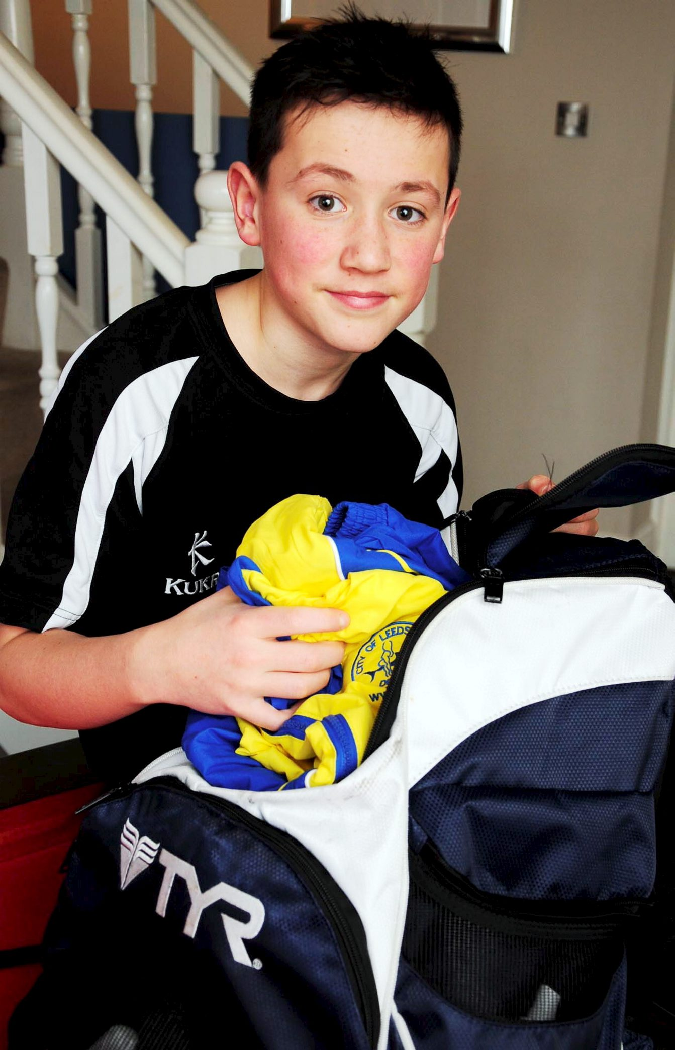 Oliver Crompton with his diving gear