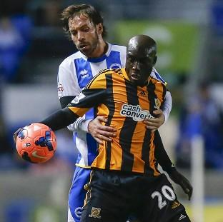 The Bolton News: Yannick Sagbo, front, scored a late equaliser for Hull