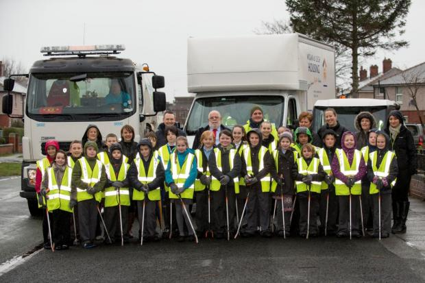 Pupils from Christ Church and St Joseph's primary schools helped clean up a Leigh estate