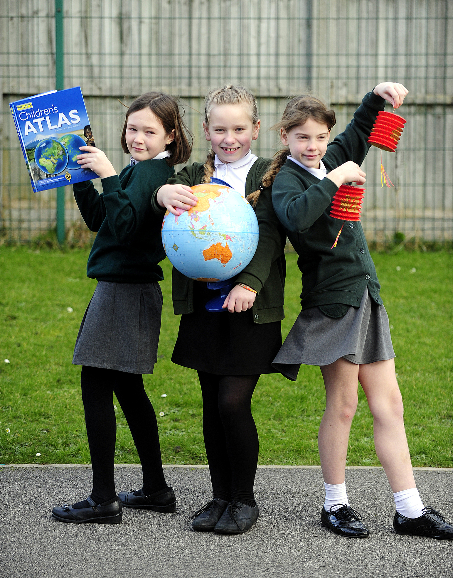 On their way are, from left, Louise Warburton, Marnie Layne-Hill and Eleanor Hailwood, all aged 10