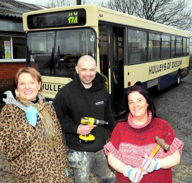 The Bolton News: Tracy Fenton, Jonny Nelson and Lindsey Allardice with the bus