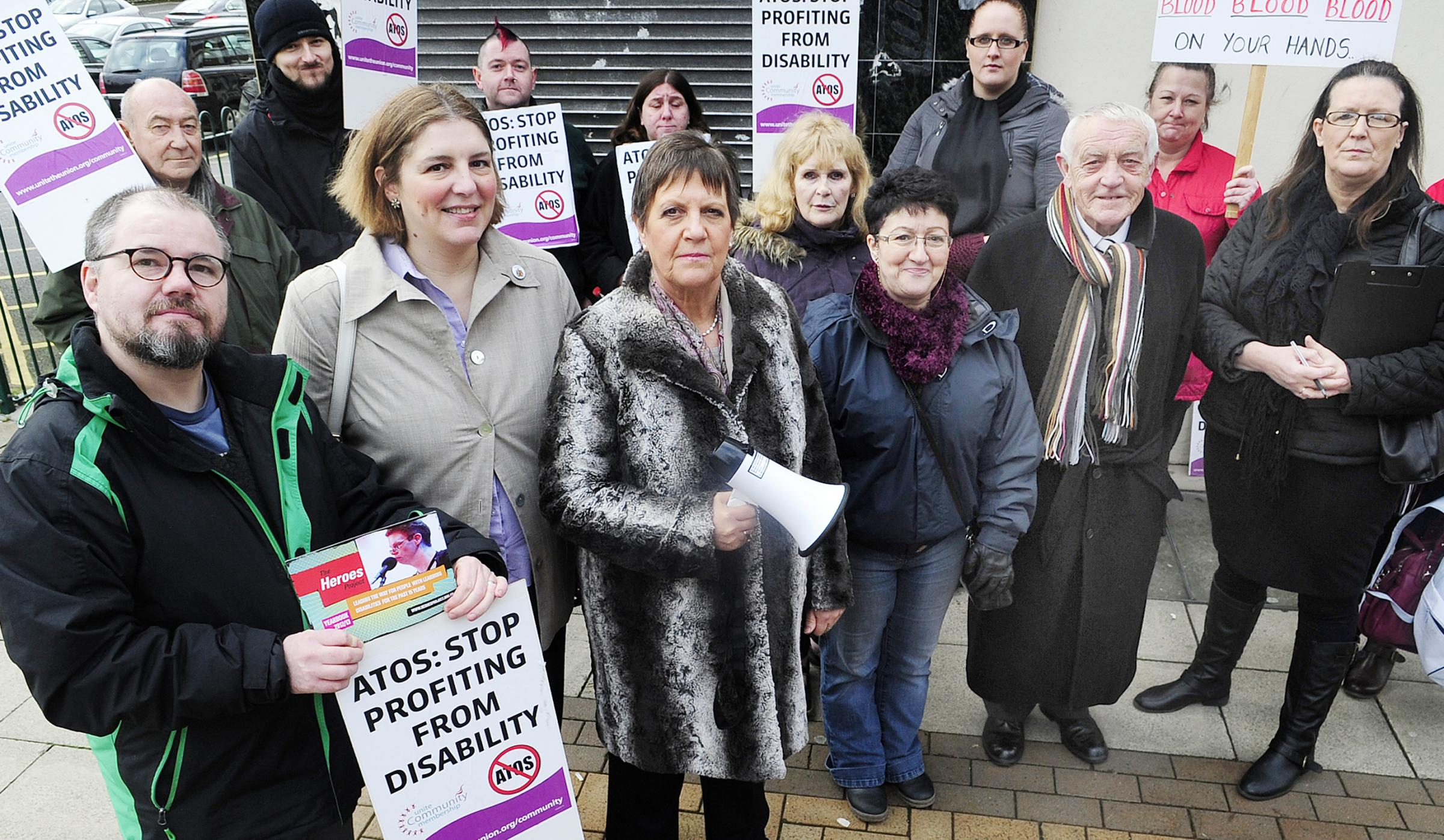 They don't give Atos: campaigners protest against disability assessors