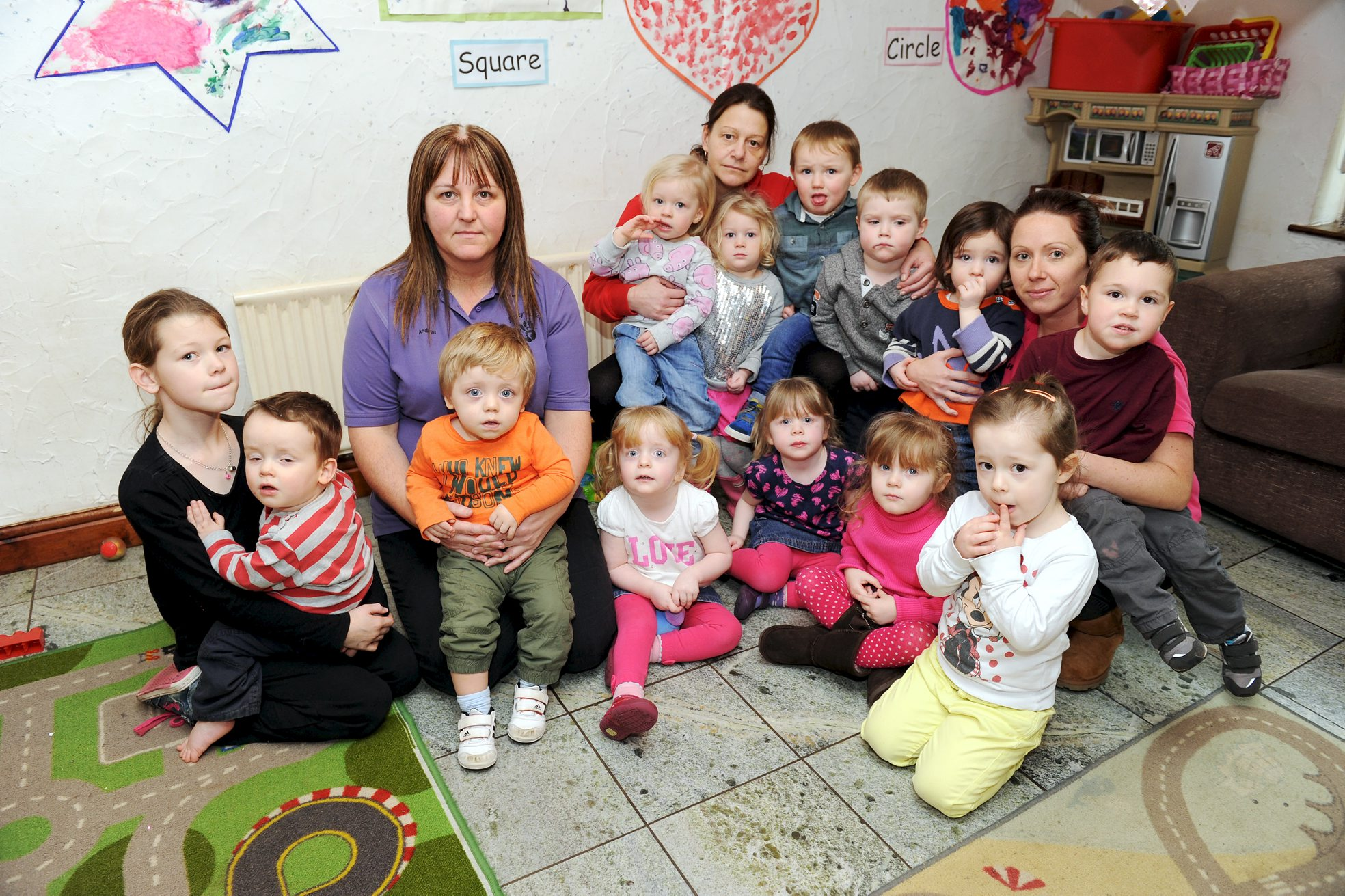Nursery owner Andrea Pollard with some of the children who attend Sticky Fingers nursery in Westhoughton