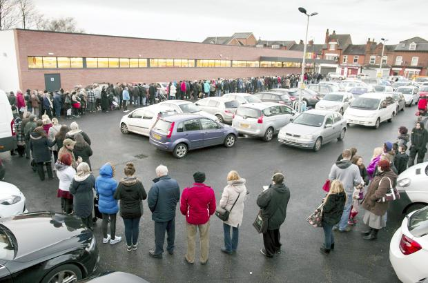 A queue at the Prestwich Aldi on February 6 this year