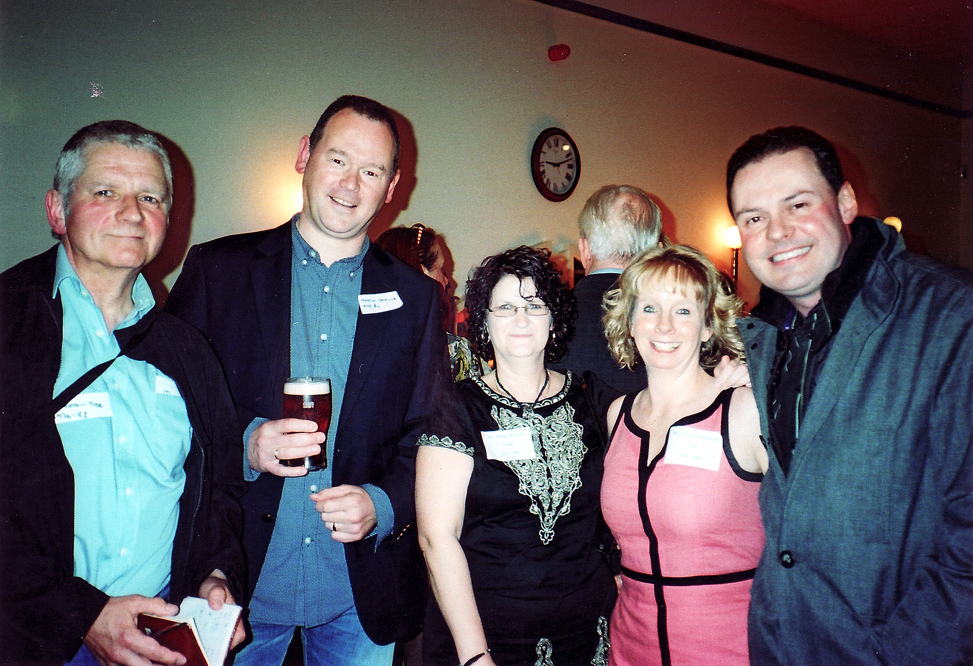Pictured at a former reunion are Andrew Todd, Martin Garlick; Elaine Howarth, Maxine Parkinson and Gary Halliwell