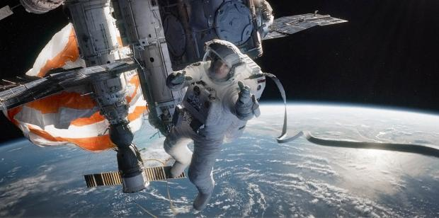 Gravity, starring Sandra Bullock and George Clooney