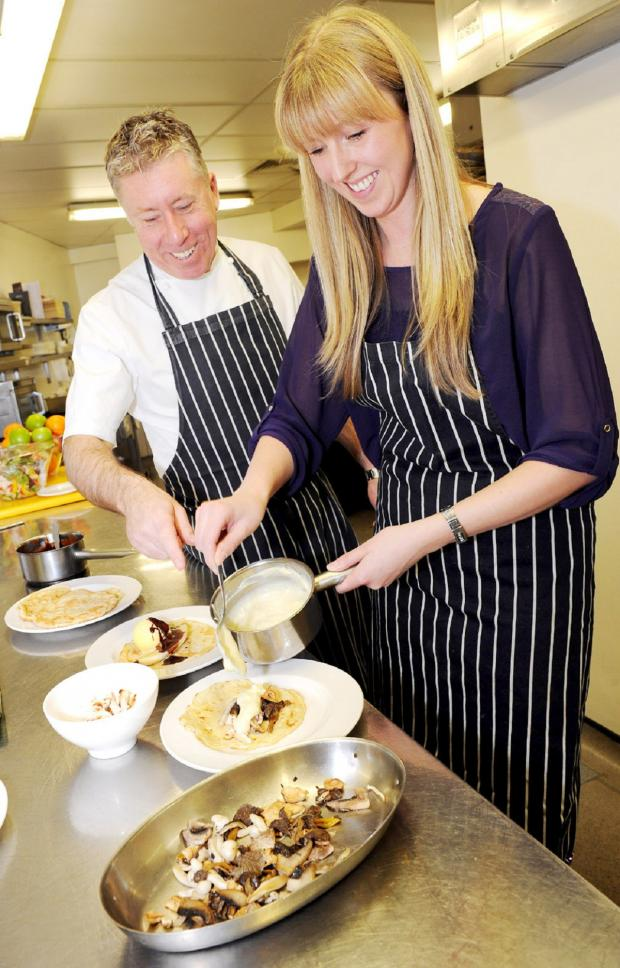 The Bolton News: Chef Paul Heathcote shows reporter Melanie Wallwork how to make perfect pancakes