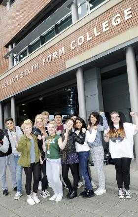 Bolton Sixth Form College students celebrate