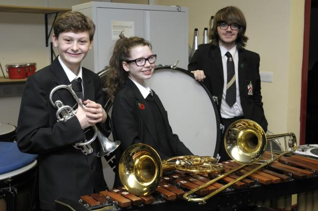 Pupils Joe Wellman, Amy Hodcroft and Callum Doutson will play in the concert