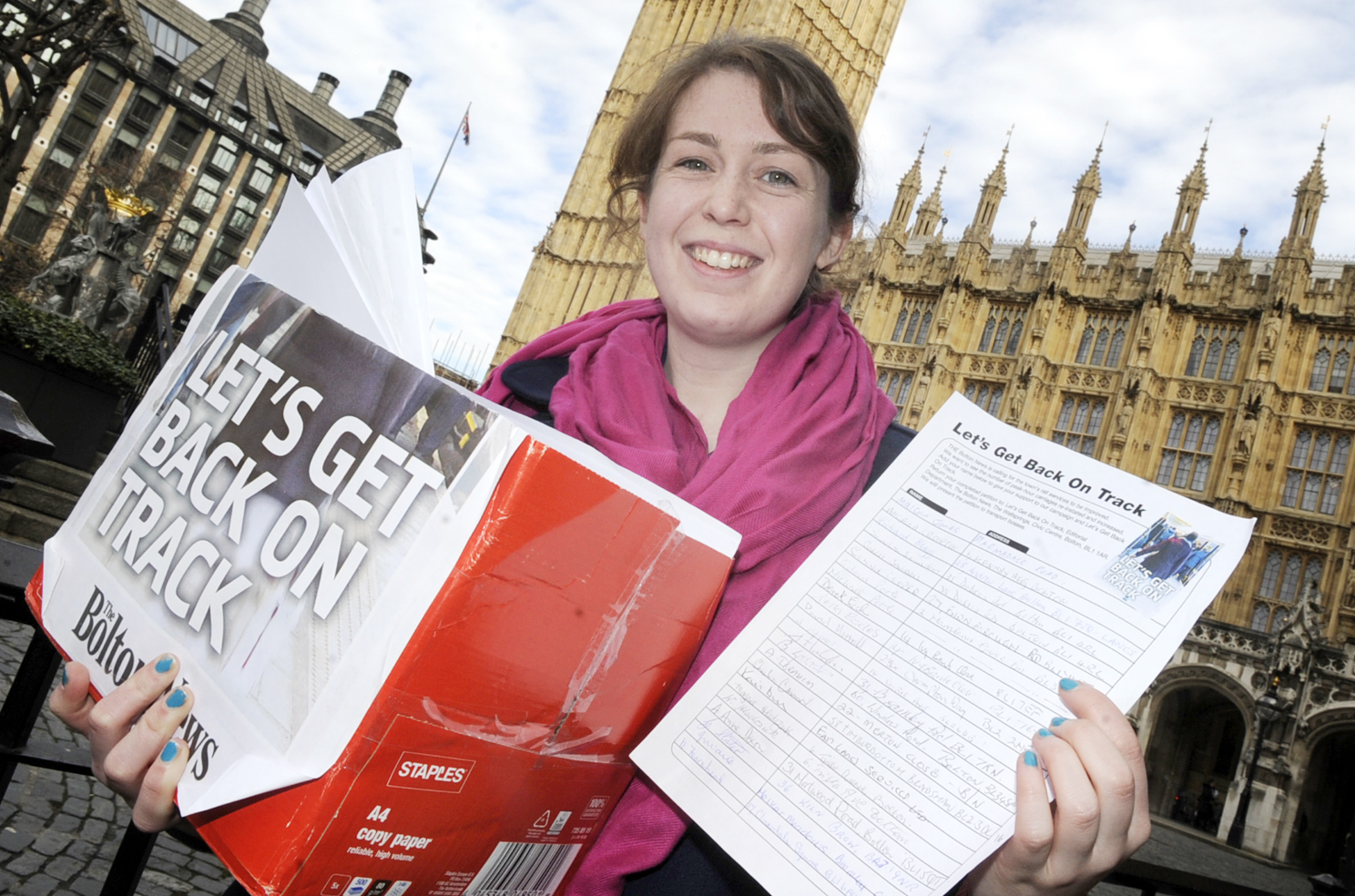 The Bolton News: Elaine O'Flynn outside the Houses of Parliament
