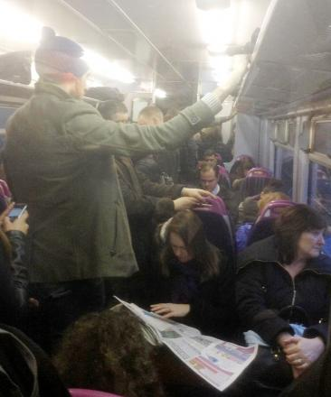 Passenger squashed in on yesterday's 7.55am from Bolton to Manchester Piccadilly