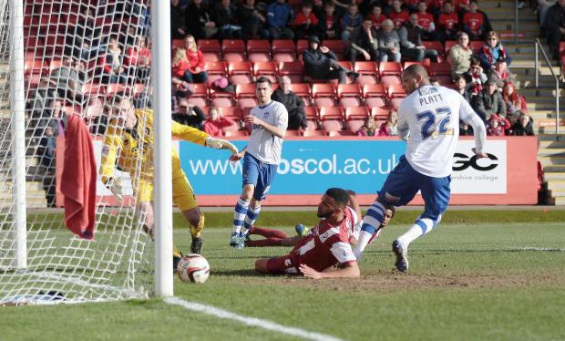 Clive Platt scores his first goal for Bury at Cheltenham on Saturday