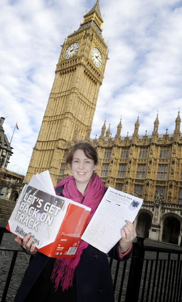 The Bolton News: Reporter Elaine O'Flynn takes the petition to Westminster