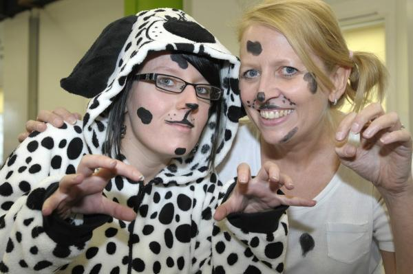 The Bolton News: Amy Morris and Sue Whalley as dalmatians