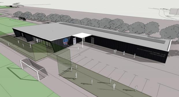 An artist's impression of the pavilion at the Wanderers Academy in Ox Hey Lane, Lostock