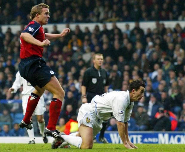 Kevin Davies scores the opening goal of a 2-0 win at Elland Road in November, 2003