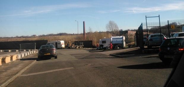 The travellers on the former East Lancashire Paper Mill site in Radcliffe