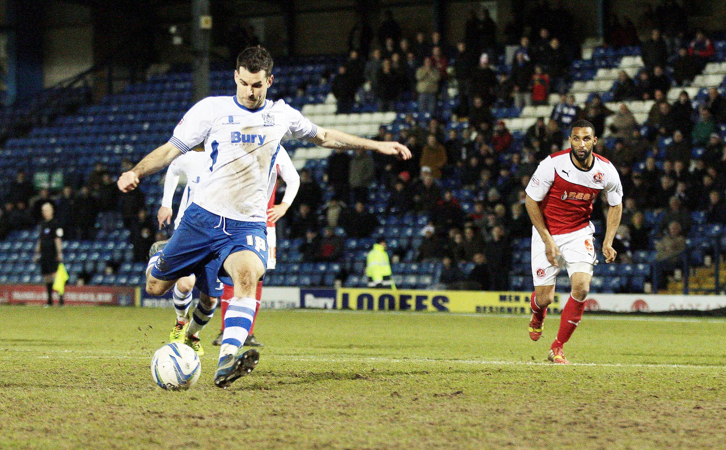 Daniel Nardiello slots home his second of the night from the penalty spot in bury's 2-2 draw with Fleetwood Town